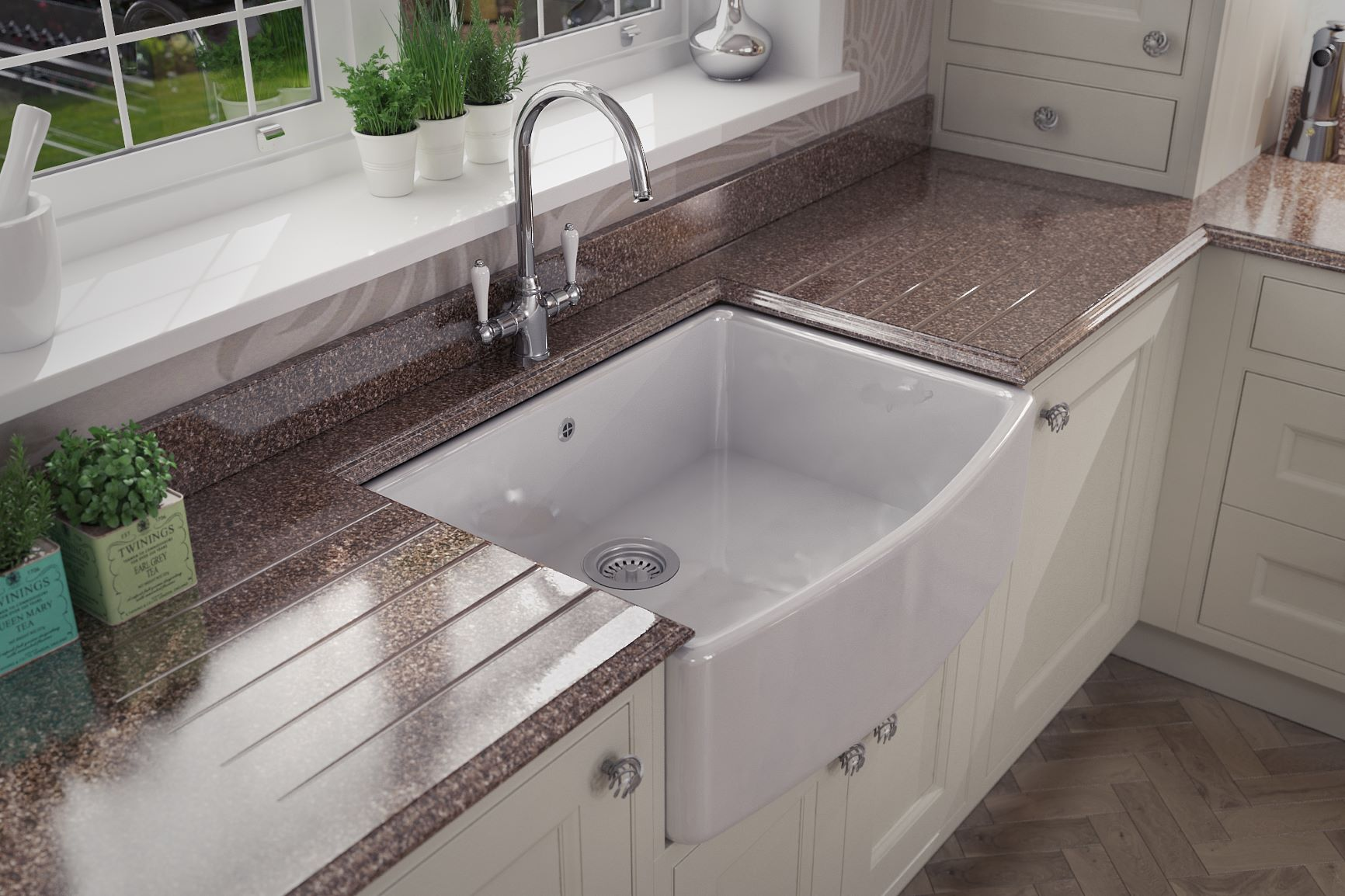 Thwaite with Belfast sink & Granite Worktops